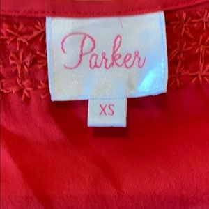 Parker Tops - Parker | RED Silk Beaded Cold-Shoulder Top